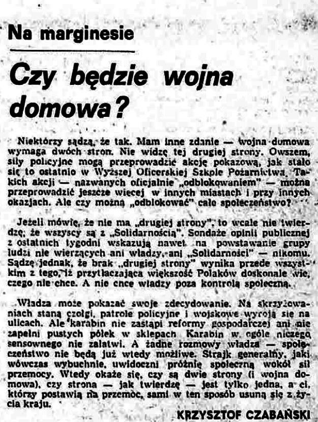 """Przedruk tekstu Krzysztofa Czabańskiego """"Czy będzie wojna domowa"""" - """"Tygodnik Solidarność nr 37 z 11 grudnia 1981 r. /INTERIA.PL"""