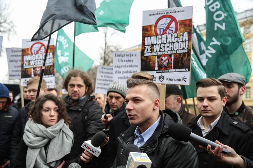 Przedstawiciele organizacji narodowych protestowali przeciw wschodniej polityce imigracyjnej rządu /Rafał Guz /PAP