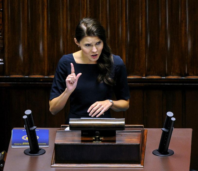 Przedstawicielka Komitetu Inicjatywy Ustawodawczej Joanna Banasiuk podczas debaty nt. ustawy aborcyjnej /Marcin Obara /PAP