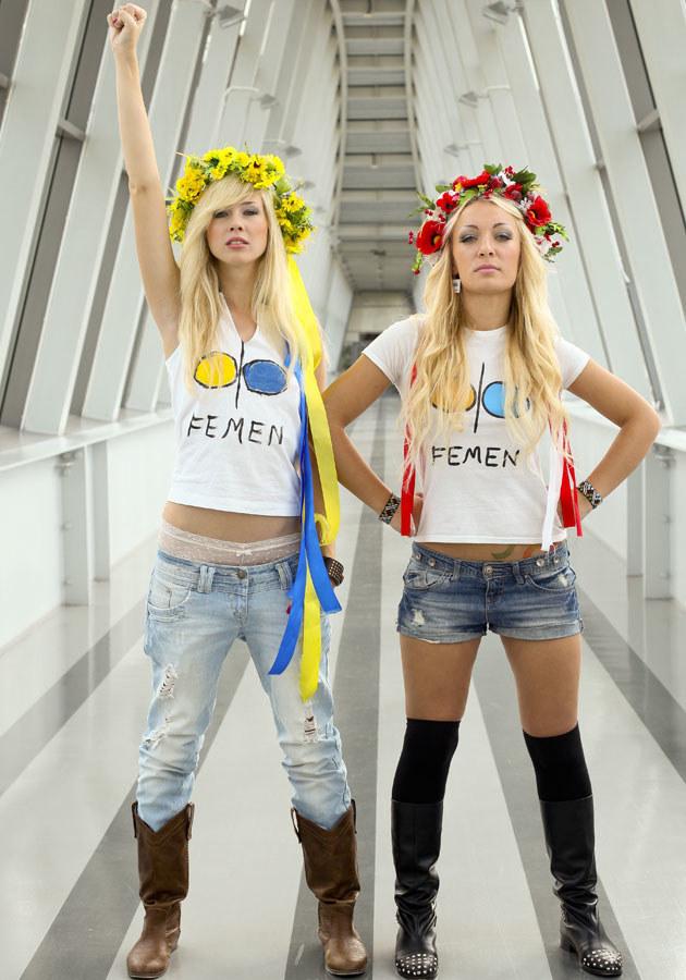 """Przedstawicielki Femenu odwiedziły Polskę. Na zdjęciu po nagraniu programu """"Pytanie na śniadanie"""". /Krzysztof Kuczyk /Agencja FORUM"""