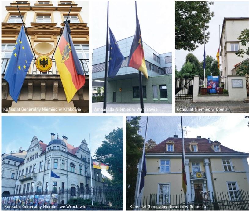 Przedstawicielstwa Niemiec w Polsce opuściły dziś flagi / Arndt Freytag von Loringhoven /Twitter