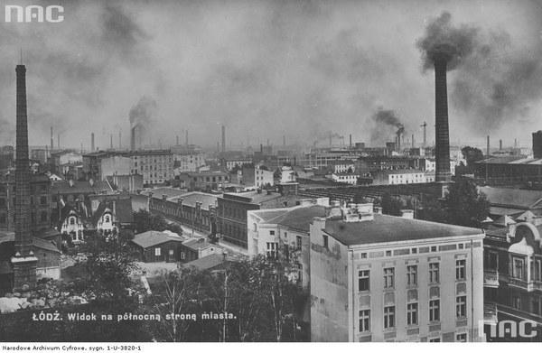 Panorama Łodzi - północna strona miasta. Widoczne kominy fabryczne