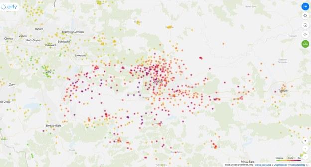 Przekroczenie norm stężenia PM10 i PM2.5 w Małopolsce /airly /Zrzut ekranu