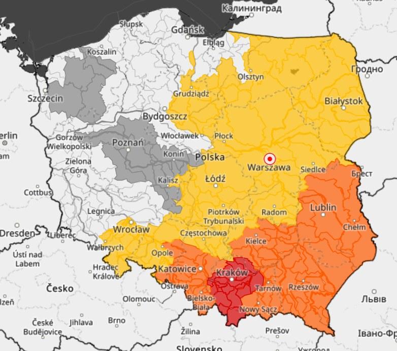 Przekroczone stany alarmowe na rzekach /IMGW-PIB /materiały prasowe