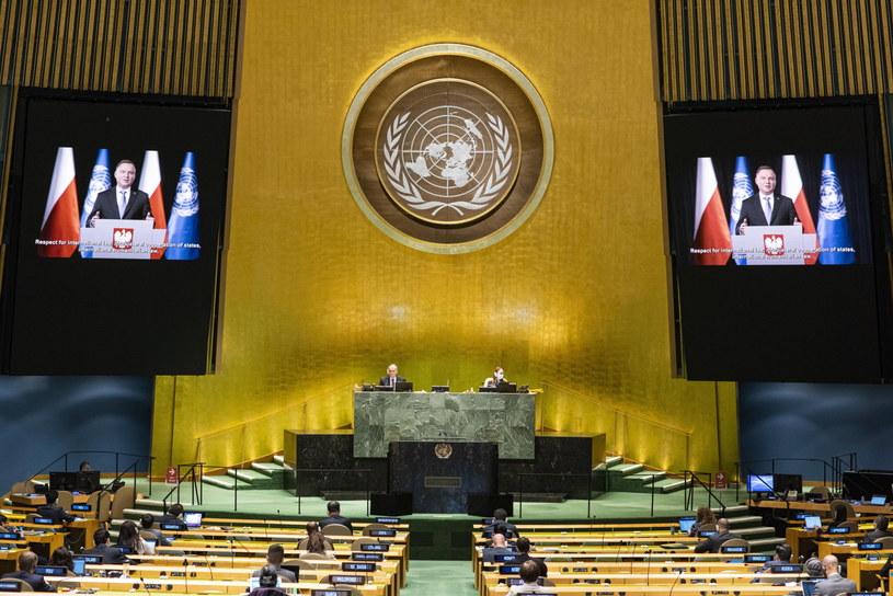 Przemówienie Andrzeja Dudy podczas debaty generalnej na forum ONZ /RICK BAJORNAS  /PAP/EPA