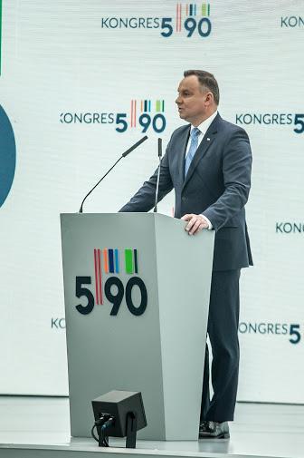 Przemówienie prezydenta Andrzeja Dudy podczas Kongresu 590 w Jasionce koło Rzeszowa /INTERIA.PL