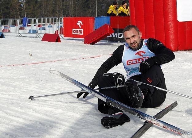 Przemysław Saleta na trasie biegu Snow Sport Show w Wiśle /fot.  Andrzej Grygiel /PAP