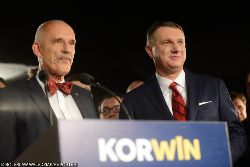 Przemysław Wipler i Janusz Korwin-Mikke /Boleslaw Waledziak/REPORTER /East News