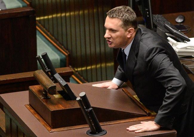 Przemysław Wipler na sejmowej mównicy /Jakub Kamiński   /PAP