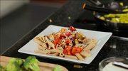 Przepis na makaron z pomidorami i bakłażanem