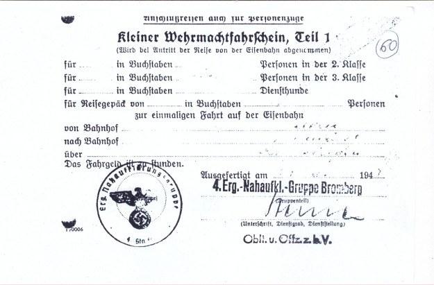 Przepustka uprawniająca niemieckiego żołnierza do odbycia podróży kolejowej /Odkrywca