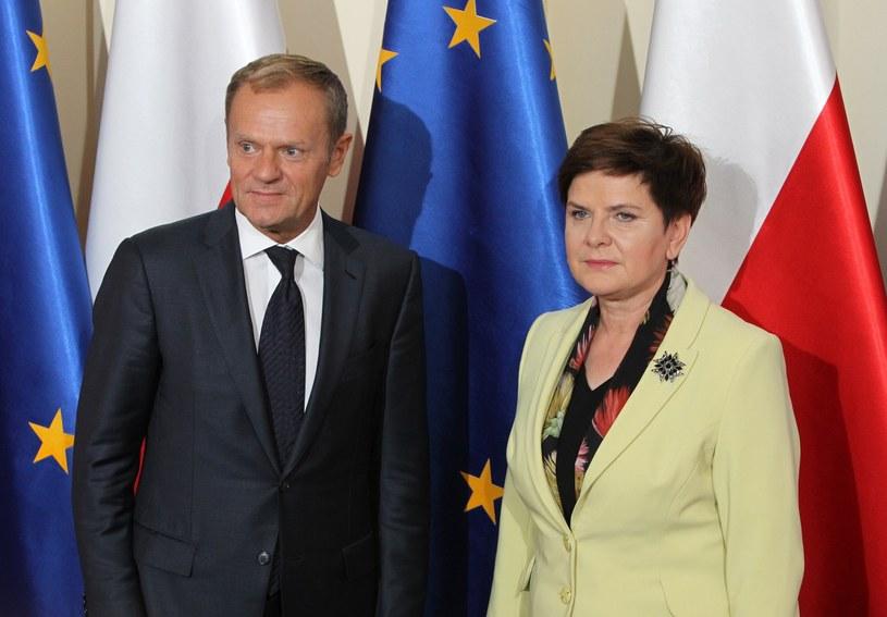 Przewdoniczący Rady Europejskiej Donald tusk i premier polskiego rządu Beata Szydło /STANISLAW KOWALCZUK /East News