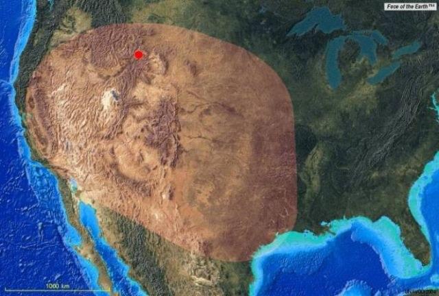 Przewidywana strefa opadu popiołu po erupcji wulkanu Yellowstone /Zmianynaziemi.pl