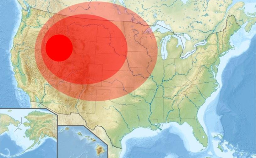 Przewidywany zasięg eksplozji w Parku Yellowstone /Wikimedia Commons /domena publiczna