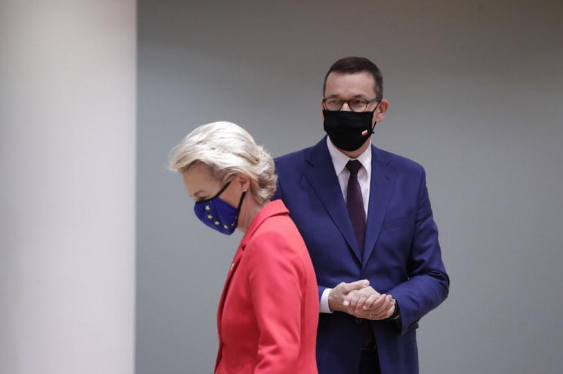 Przewodnicząca KE Ursula von der Leyen i premier Mateusz Morawiecki /OLIVIER HOSLET /PAP/EPA