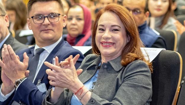 Przewodnicząca Zgromadzenia Ogólnego ONZ Maria Fernanda Espinosa i prezydent Katowic Marcin Krupa / Andrzej Grygiel    /PAP