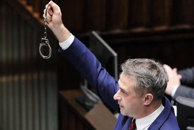 Przewodniczący klubu Lewicy Krzysztof Gawkowski na sali obrad Sejmu /Paweł Supernak /PAP