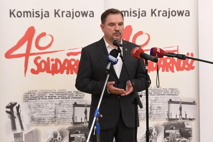 """Przewodniczący Komisji Krajowej NSZZ """"Solidarność"""" Piotr Duda /Marcin Gadomski /PAP"""