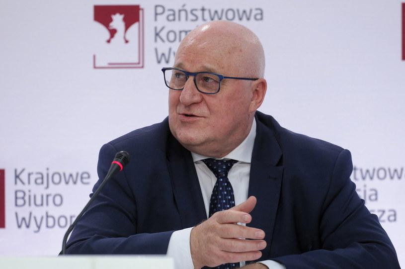 Przewodniczący Państwowej Komisji Wyborczej Sylwester Marciniak podczas konferencji prasowej /Paweł Supernak /PAP