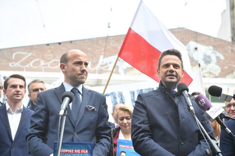 Przewodniczący Platformy Obywatelskiej Borys Budka i wiceszef partii, prezydent Warszawy Rafał Trzaskowski / Radek Pietruszka   /PAP