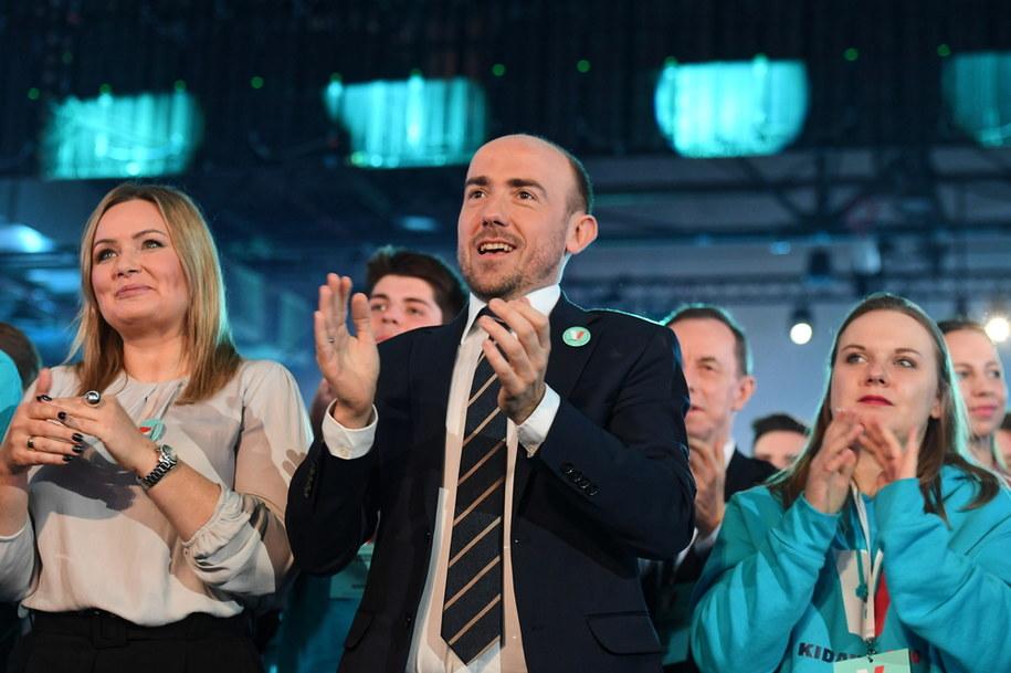 Przewodniczący PO Borys Budka podczas konwencji wyborczej Małgorzaty Kidawy-Błońskiej /Piotr Nowak /PAP