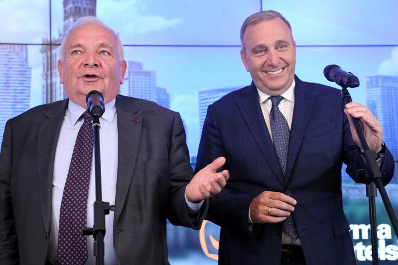 Przewodniczący PO Grzegorz Schetyna i przewodniczący Europejskiej Partii Ludowej Joseph Daul /Tomasz Gzell   /PAP