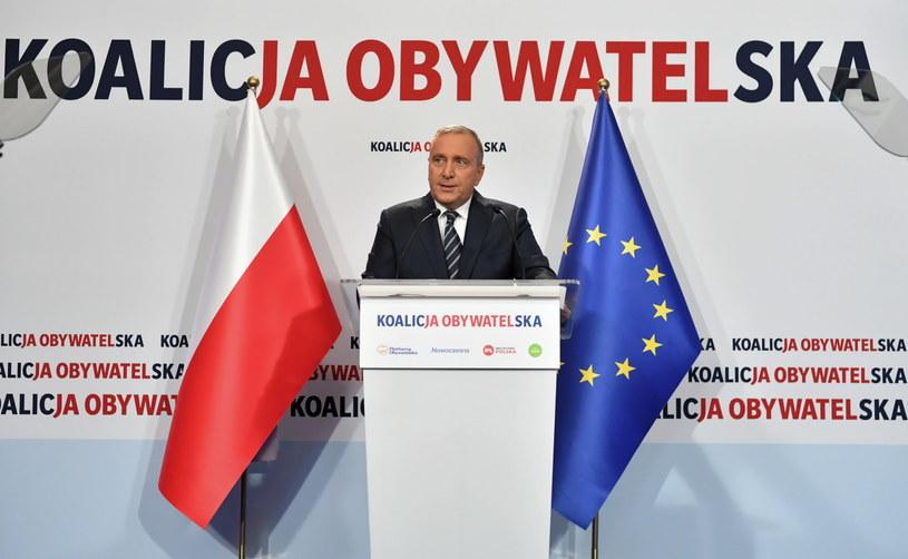 Przewodniczący PO Grzegorz Schetyna podczas startu kampanii wyborczej po rejestracji list kandydatów /Piotr Nowak /PAP
