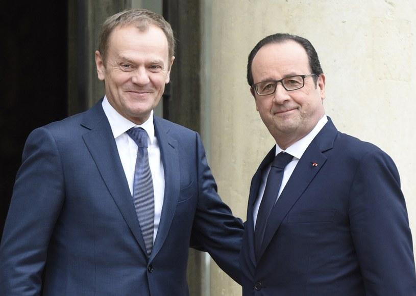 Przewodniczący Rady Europejskiej Donald Tusk i prezydent Francji Francois Hollande /AFP
