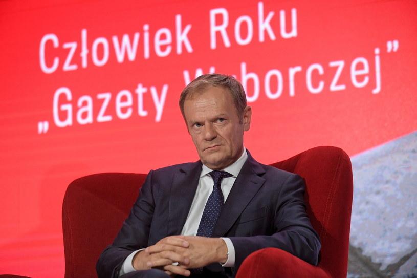 Przewodniczący Rady Europejskiej Donald Tusk podczas gali zorganizowanej z okazji 30-lecia Gazety Wyborczej /Marcin Obara /PAP