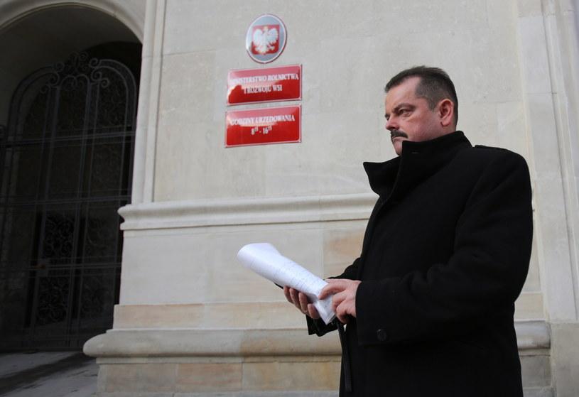 Przewodniczący rolniczego OPZZ Sławomir Izdebski /Leszek Szymański /PAP
