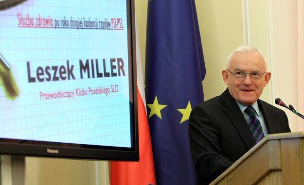 Przewodniczący SLD Leszek Miller  podczas konferencji /fot. Radek Pietruszka /PAP