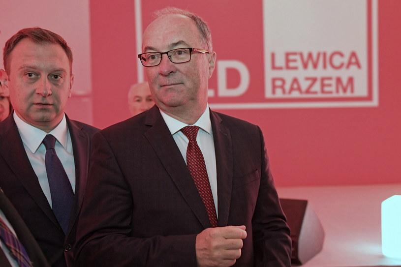 Przewodniczący SLD Włodzimierz Czarzasty i przewodniczący SLD województwa łódzkiego Tomasz Trela w Łodzi /Grzegorz Michałowski   /PAP