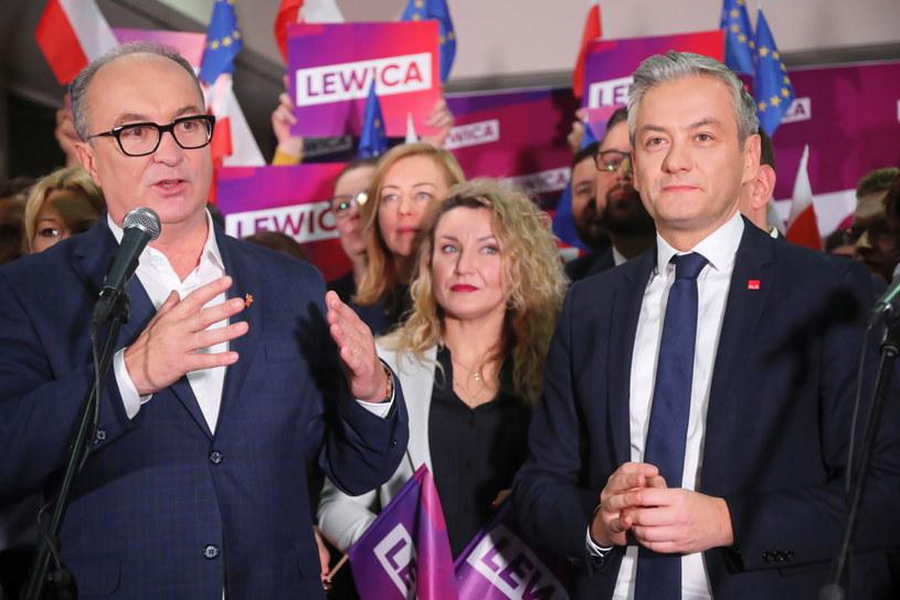 Przewodniczący SLD Włodzimierz Czarzasty oraz lider partii Wiosna Robert Biedroń /Wojciech Olkuśnik /PAP