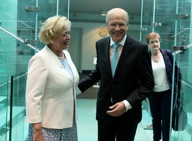 Przewodniczący Trybunału Sprawiedliwości UE Koen Lenaerts i prezes Sądu Najwyższego Małgorzata Gersdorf /PAP /PAP