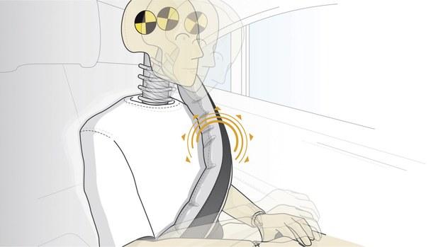 Przy pełnym rozwinięciu, poduszka w pasach potroi powierzchnię, na której na pasażera podczas zderzenia działają siły. /Motor
