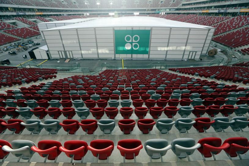 Przygotowania na Stadionie Narodowym w Warszawie przed szczytem COP19 /Tomasz Gzell /PAP