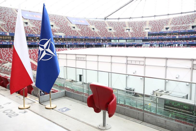 Przygotowania na stadionie PGE Narodowy w Warszawie /Leszek Szymański /PAP