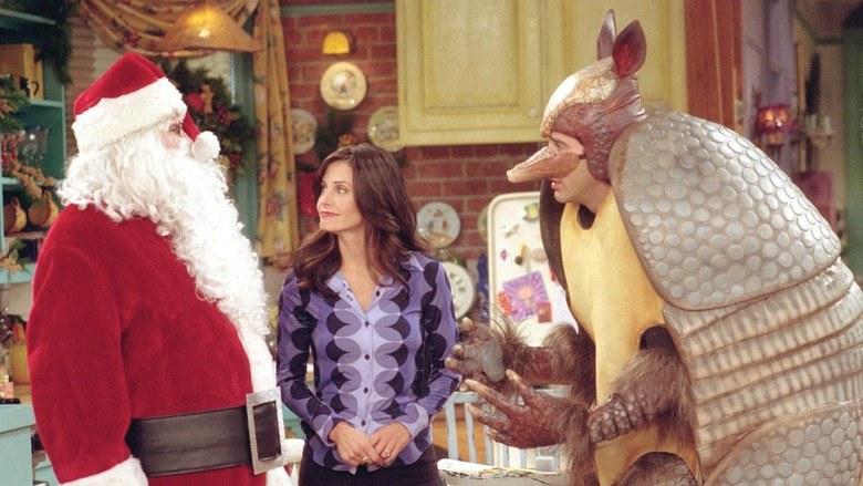 """""""Przyjaciele"""": Monika była rozbawiona nie tylko na widok świętego Mikołaja, ale również świątecznego pancernika. Jednak obu przebił Joey... /materiały prasowe"""