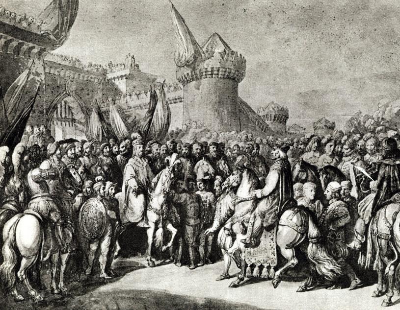 Przyjęcie Ottona III przez Bolesława Chrobrego w Poznaniu według obrazu Franciszka Smuglewicza /reprodukcja: Piotr Mecik /Agencja FORUM