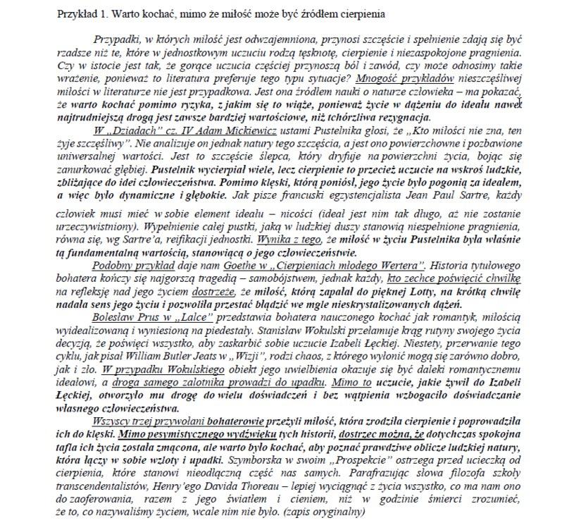 Przykład nr 1 - matura z polskiego /CKE /