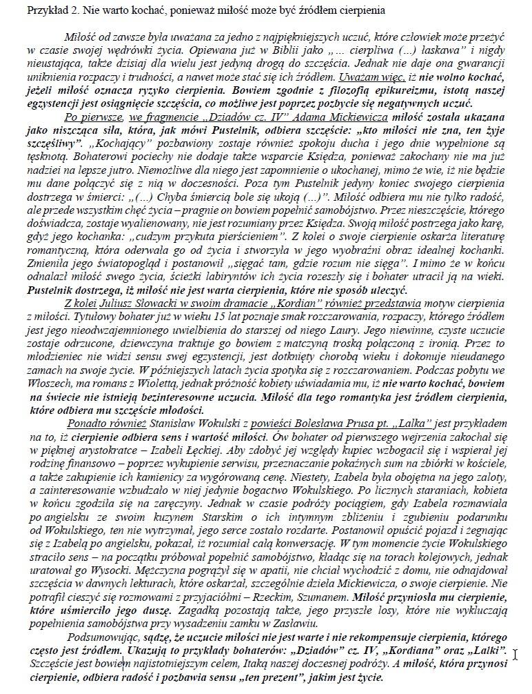 Przykład nr 2;  matura z języka polskiego /