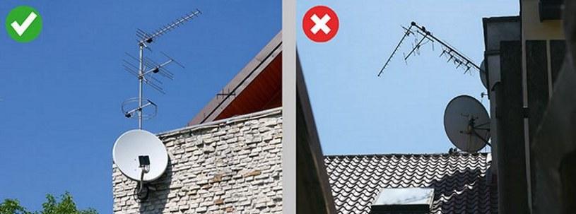 Przykład prawidłowego i nieprawidłowego montażu anteny satelitarnej /SatKurier