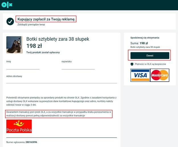 Przykład sfałszowanej strony, która ma imitować potwierdzenie wykonania przelewu / blog.olx.pl /