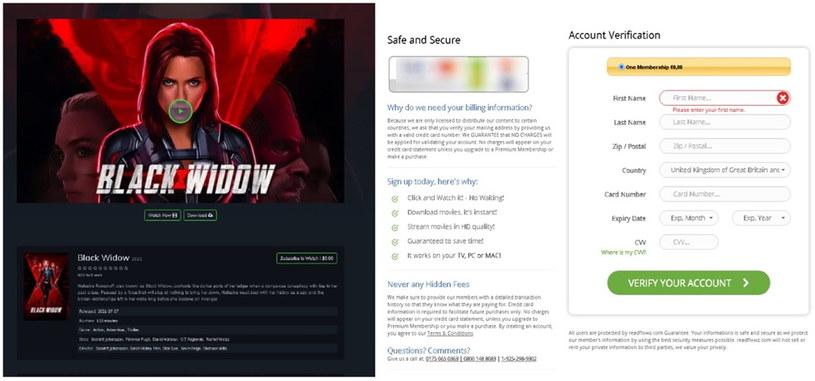 """Przykład strony phishingowej oferującej przedpremierowy streaming filmu  """"Czarna Wdowa"""". Fot. Kaspersky /materiały prasowe"""