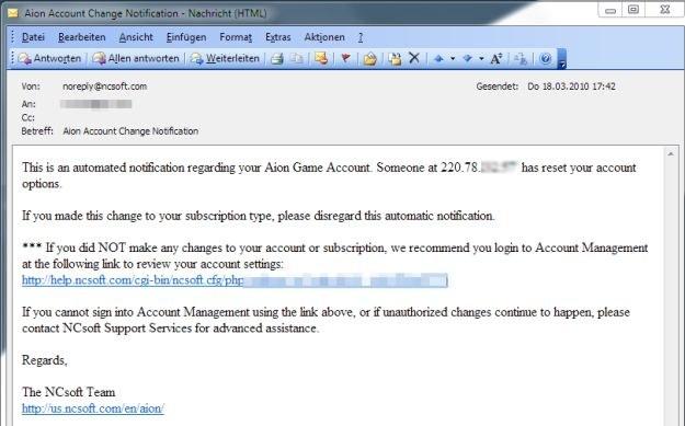 Przykład wiadomości phishingowej przeznaczonej dla fanów gry Aion /materiały prasowe