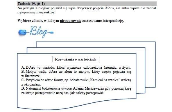 Przykładowe zadanie z języka polskiego /Zrzut ekranu