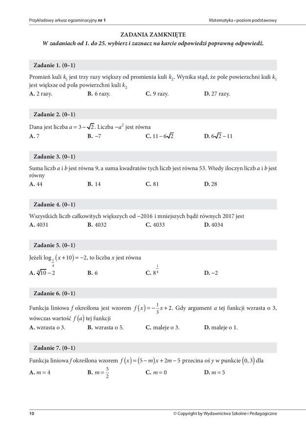 Przykładowe zadanie z matematyki /DGP /
