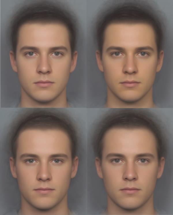 Przykładowe zdjęcia uczestników eksperymentu, po lewej przed, po prawej po podaniu karotenoidów (u góry) lub placebo (na dole) /Yong Zhi Foo /materiały prasowe