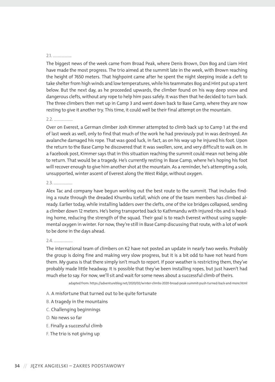 Przykładowy arkusz z języka angielskiego /materiały promocyjne