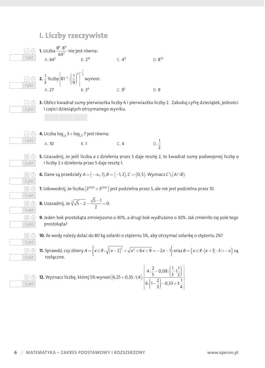 Przykładowy arkusz z matematyki /materiały promocyjne